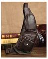 Men s Vintage Genuine Leather Travel Riding Motorcycle Shoulder Messenger Sling Chest Bag