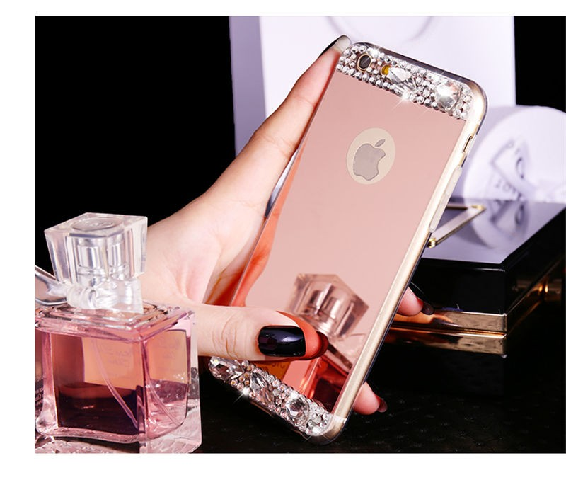 For Coque iPhone 6 6S 5S 6 Plus 7 Plus Strass Bling Glitter Diamond Mirror Case Soft TPU Frame For iPhone 7 Case Accessories
