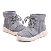 Genuine Leather Children Girls&Boys Unisex Casual Fashion Breathable Lace Up Gray 750 High-top Flat Walking Cotton Yeezy Shoes(China (Mainland))
