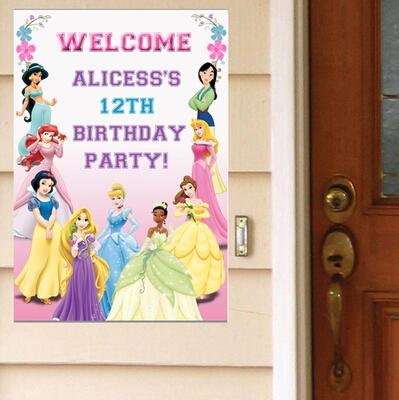 1 x disney princess birthday party customize name welcome poster room door wall stickers decals - Princess party wall decorations ...