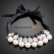 Korean Style Sweet White Pearls Jewlery Detachable Collar Chain Necklace ARE4