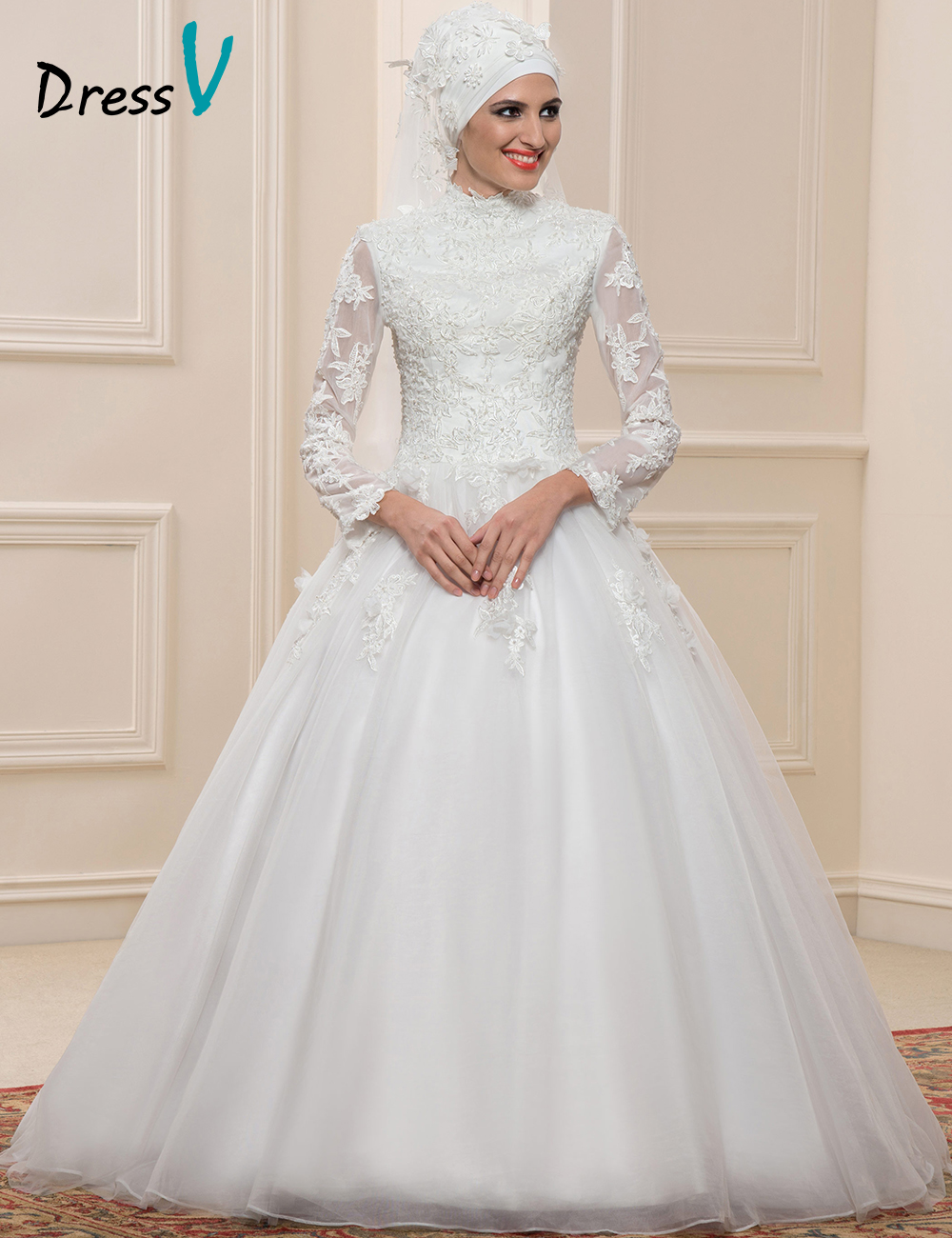 Dressv muslim lace ball gown wedding dresses long sleeves for Applique for wedding dress