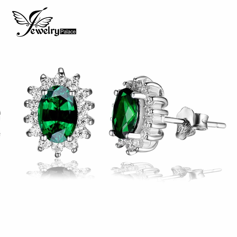 Princess Diana Style Nano Russian Emerald Earring Stud Solid 925 Sterling Silver Brand Fine Jewelry Aliexpress Hot Selling Style(China (Mainland))