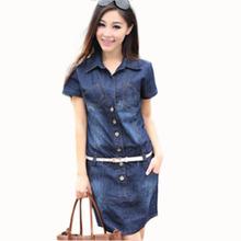 Mulheres vestido de verão estilo Plus Size Vestidos 5XL Denim Vestidos de manga curta solta encaixe vestido roupas casuais 2015 Hot C26