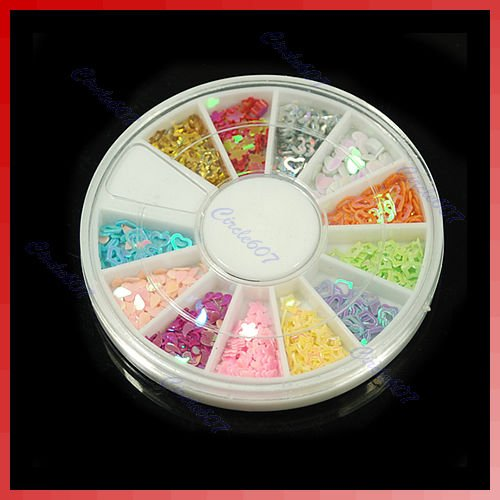+12 Colors Glitter Colorful Star Paillette Spangles Nail Tip Decorator DIY Nail Art Disk(China (Mainland))