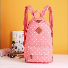 American new export trade pink dots canvas girl backpacks wome
