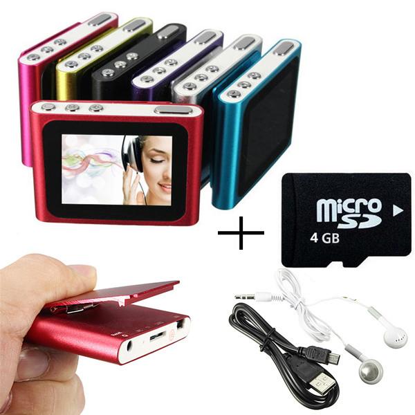 4GB 1.8 Inch screen Clip FM Radio Mp3 Player Support 32GB Micro SD/TF Including Headphone Mini USB Cable