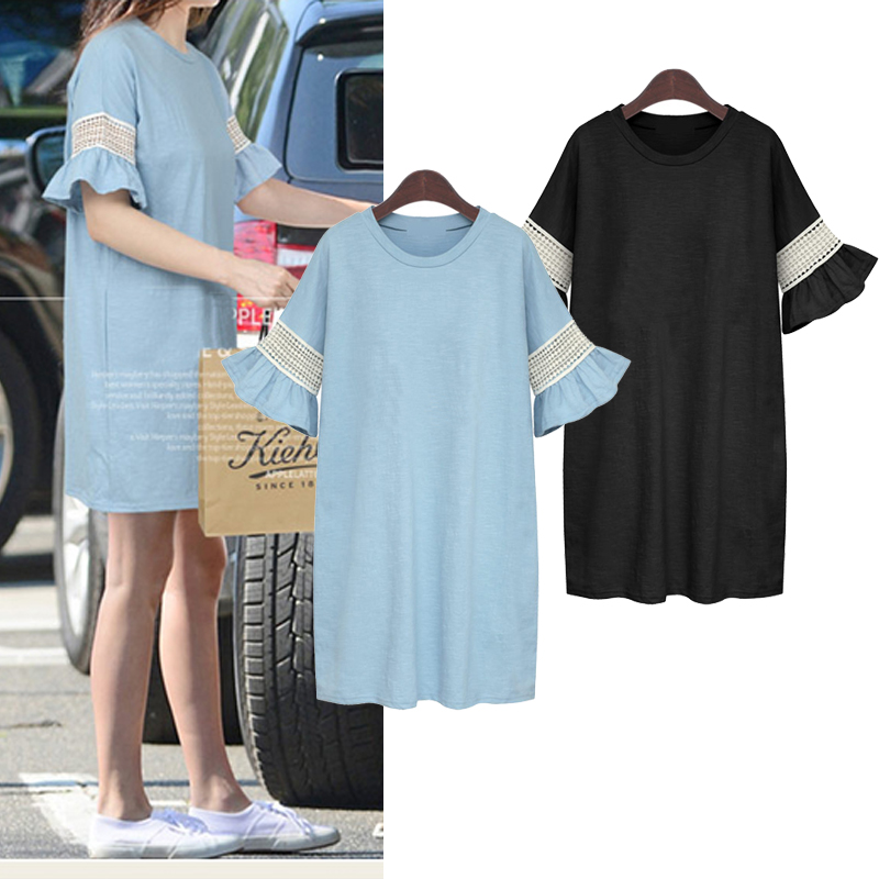 Summer Wear Loose Comfortable Knit Cotton Dress 2016 Latest Lace Sleeve Design Fashion Casual Dress Plus-size XL,2XL,3XL,4XL(China (Mainland))