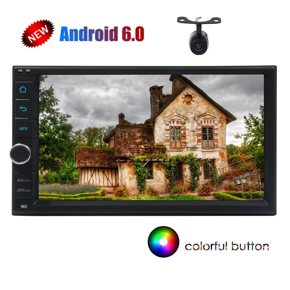 Camera +Android 6.0 GPS Car Stereo Autoradio GPS Navigation Car Radio Stereo Doubletwo 2Din Head Unit for Universal Auto Audios