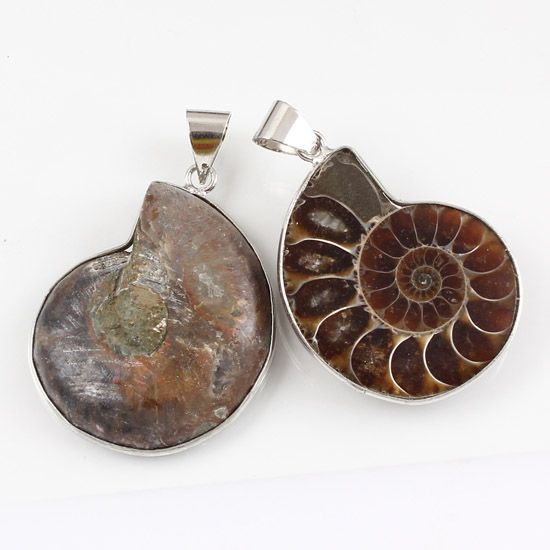 UMY Simple Style Silver Plated Natural Ammonite Reliquiae Stone Modern Pendants Charms Jewelry - Umy-beads store