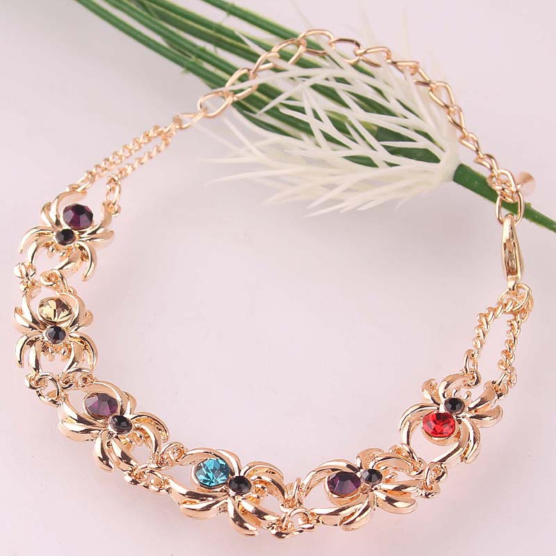 Unique Stylish Women Gift Party New 14k Gold Filled Multiple Spider Colorful Chain 230mm Bracelets <font><b>Anklets</b></font> Jewelry Free Shipping