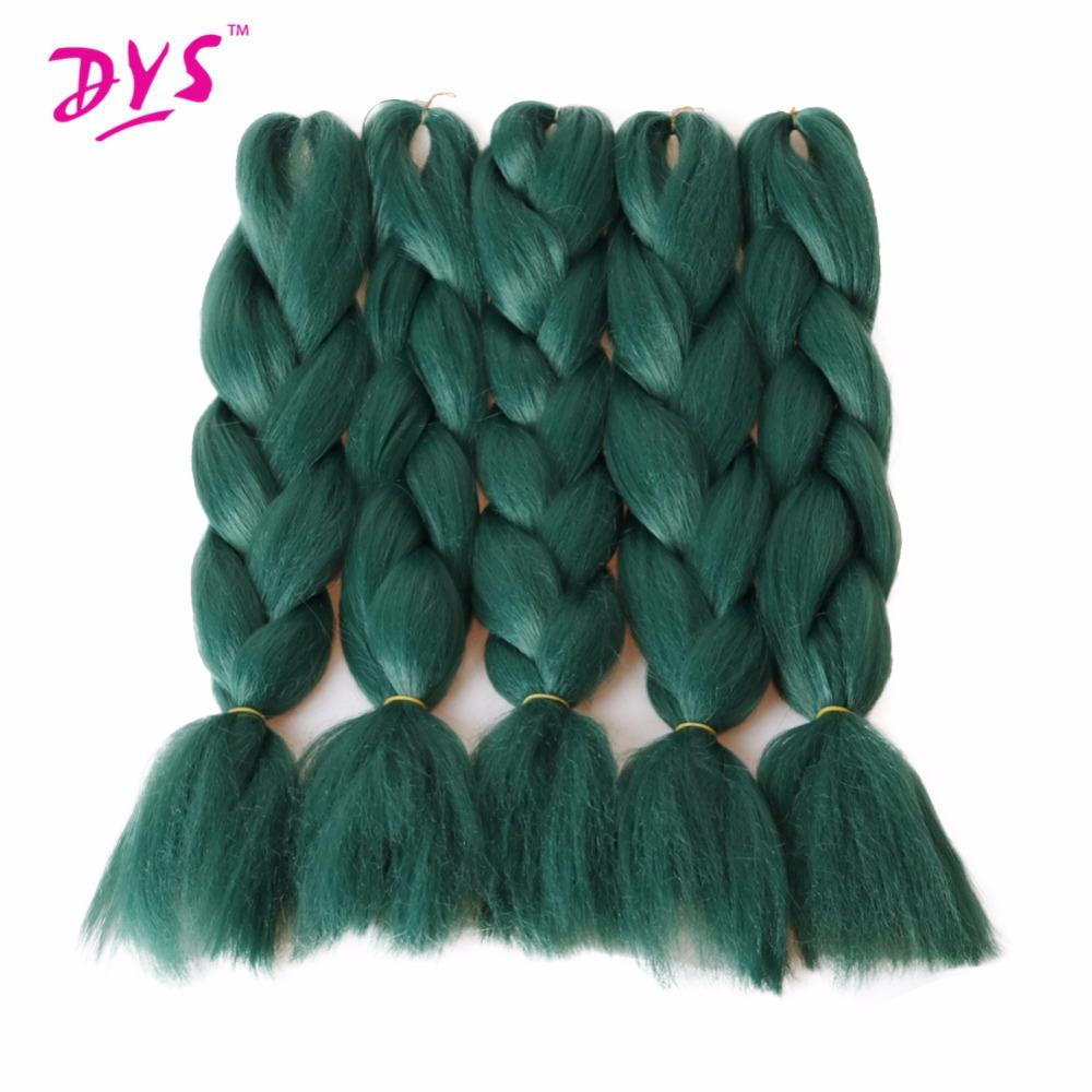 Deyngs Natural Synthetic Braiding Hair 24inch Pure Green Colored Crochet Braids Hair Extension Jumbo Braids Bulk Hair Braiding (1)