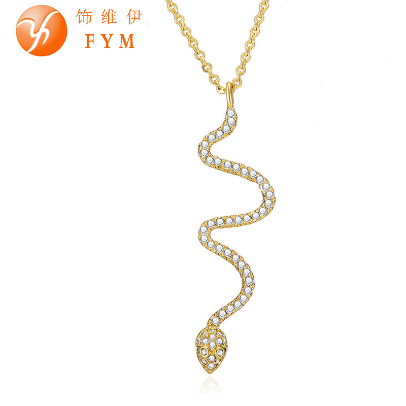 Fashion Jewelry Full Cubic Zircon Austria Crystal Snake Necklace Pendant 18k Gold Plated Chain Necklace(China (Mainland))