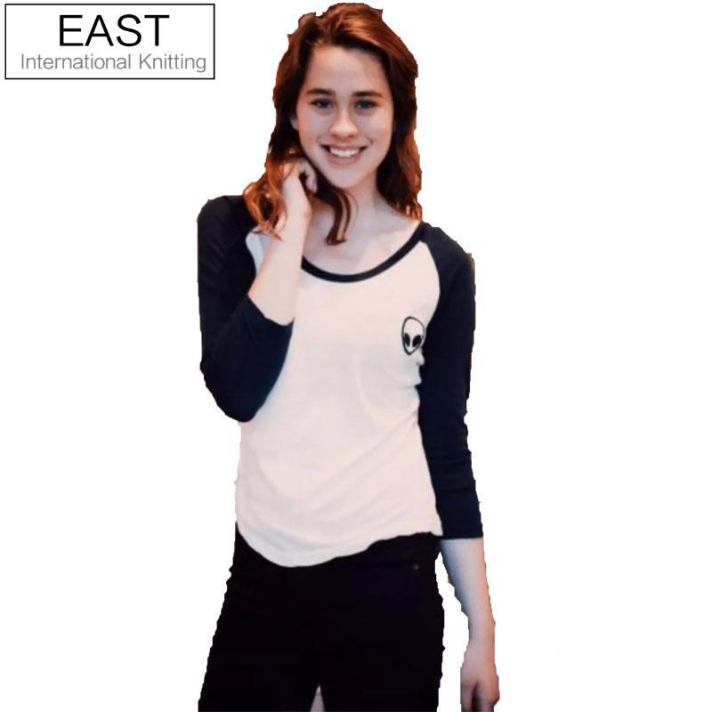 New 2015 Winter Autumn Woman Lady Casual <font><b>T</b></font> <font><b>shirt</b></font> <font><b>Long</b></font> <font><b>Sleeve</b></font> O-Neck Alien Print <font><b>T</b></font>-<font><b>shirt</b></font> Patchwork Tee Top Fashion <font><b>Basic</b></font> Blusas