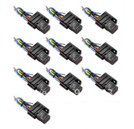 In stock 10 PACK Car 30A 12V Relay & Socket Kit For Electric Fan Fuel Pump Light Horn 5P(China (Mainland))