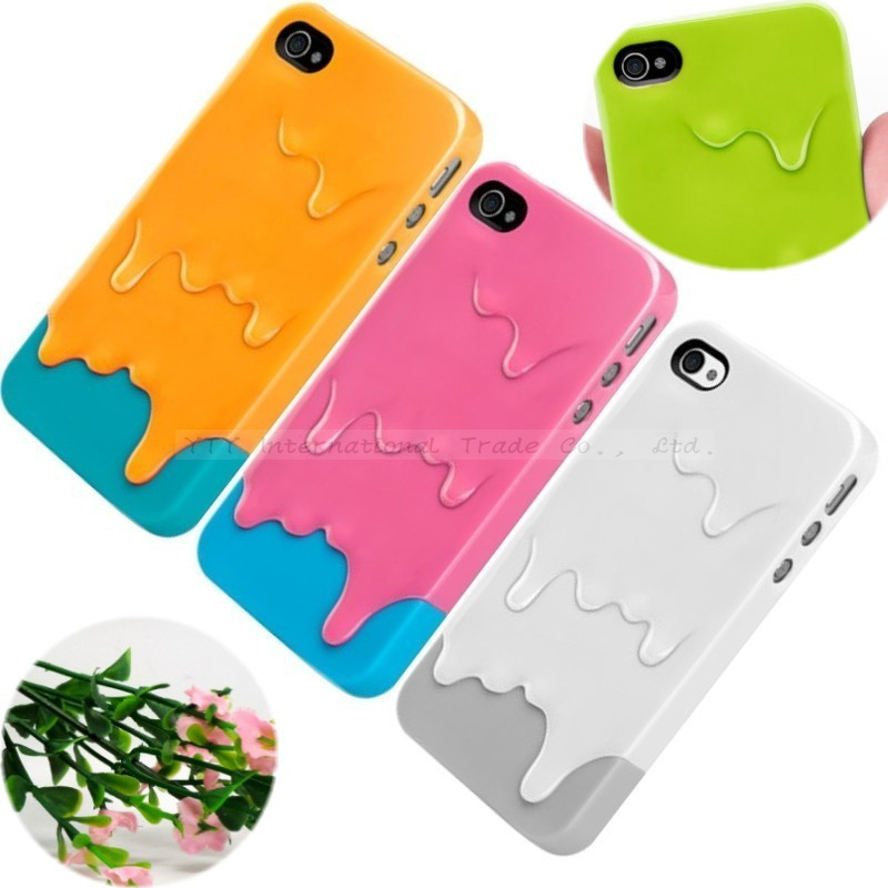 4/4S Cute 3D Melt Ice Cream Hard Back Cover Skin Cases iPhone 4 4S Case Protection Shell 2016 Newest Arrival Hot Magic Best - Mobile Phone Accessories/Case And Mp3 Store store