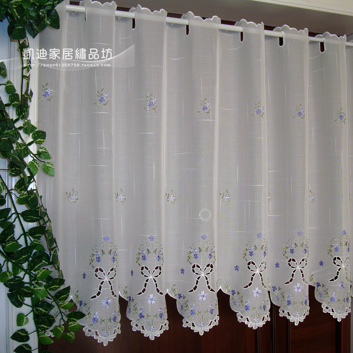 Semi-shade-embroidery-rustic-curtain-fabric-kitchen-curtains-coffee-curtain-blue-flowers-45-60