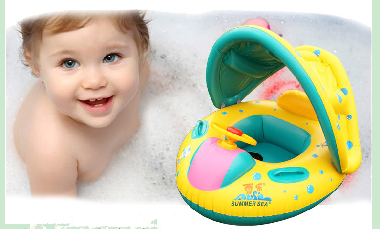 Free shipping sale 1pcs Inflatable Toddler Baby Swim Ring Float Seat Swimming Pool Seat with Canopy toddler inflatable lap 24078(China (Mainland))