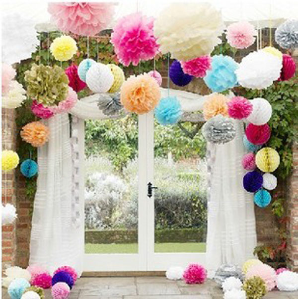 "20pcs/lot 8"" 20cm 24 different color availalbe pom pom tissue paper flower ball wedding party decoration(China (Mainland))"