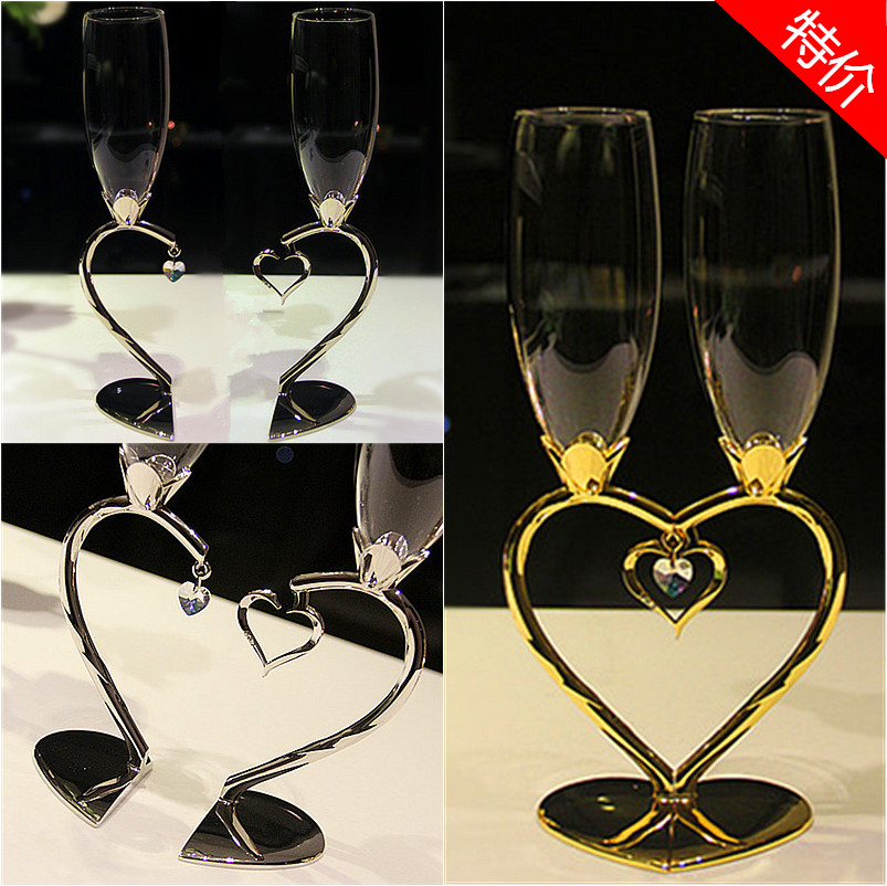 Fashion red wine cup set heart champagne glass wedding gift(China (Mainland))