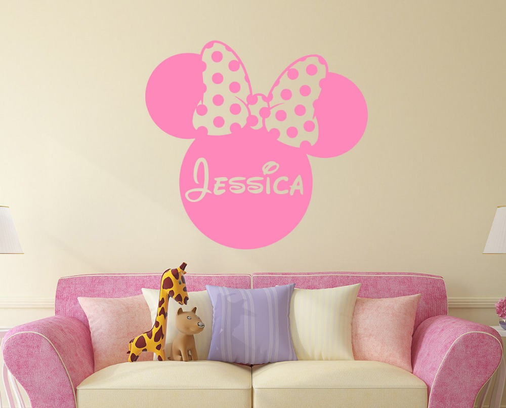 Mickey Mouse Minnie Personalized Custom Girl Name Vinyl Mural Wall Sticker Pink Decals Kids Nursery Room Decor Wall Stickers 664(China (Mainland))