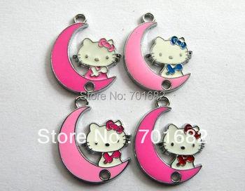 wholesale 10pcs/lot Hello Kitty  Enamel Hang Pendant Charm size: 25x20mm stuff: Zinc alloy fit necklace cell phone charms