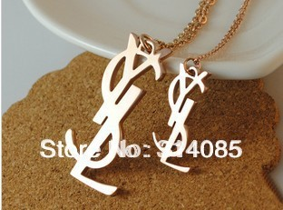 316 Titanium Steel brand letter rose gold plated pendant & necklace 2013 jewelry for women N198