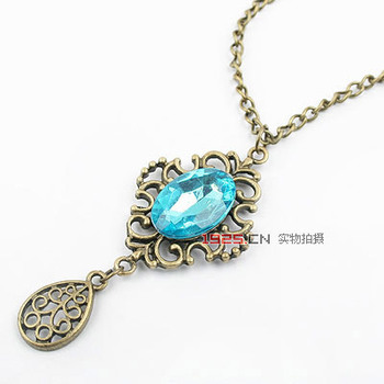 Free Shipping! Fashion Jewelry exquisite European Retro Blue gem water drop crystal Necklaces&Pendants  sweater chain A015
