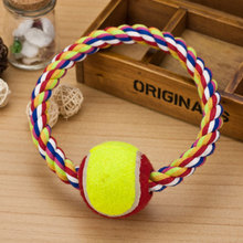 Free Shipping 2015 New Designer Pets Toy Dog O Ring Type Cotton Rope With Tennis Ball, Chew Products For Dogs Wholesale