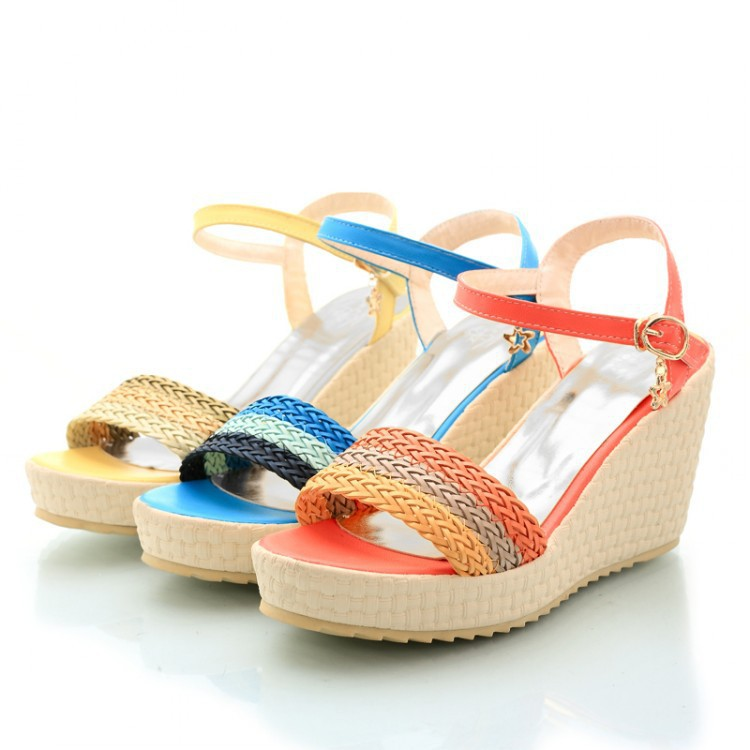 Brand new summer women sandals 2015 shoes fish head slope for Fish head shoes