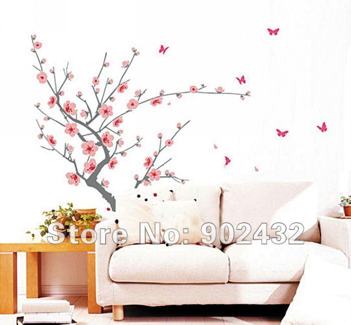 Flor de durazno mariposas pegatinas de pared 130 * 200 cm flores y ...