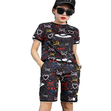 Buy 2017 New Summer Two Piece Set Women Short Sleeve O-neck T-shirt Tops Elastic Waist Knee-length Pants Vintage Print Suits Moletom for $18.76 in AliExpress store