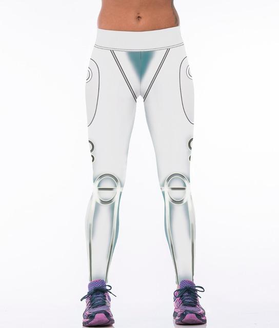 Белый робот дизайн 3D отпечатано леггинсы женщин спортивные леггинсы дамы фитнес ...