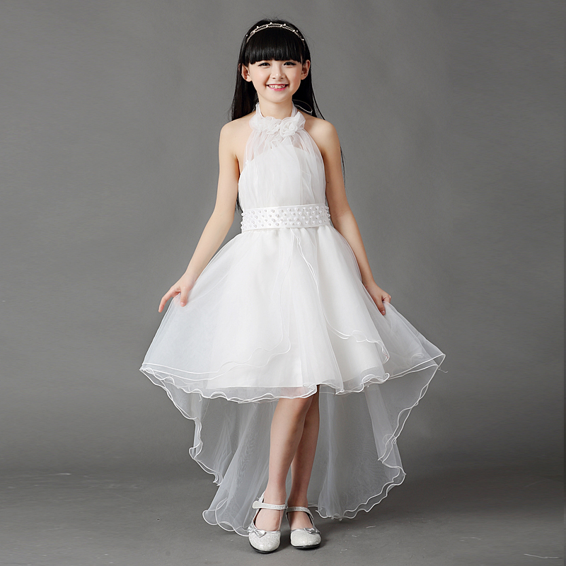 3 16y kids gauze pearl tee dresses for teenage girls for Wedding dresses for young girls
