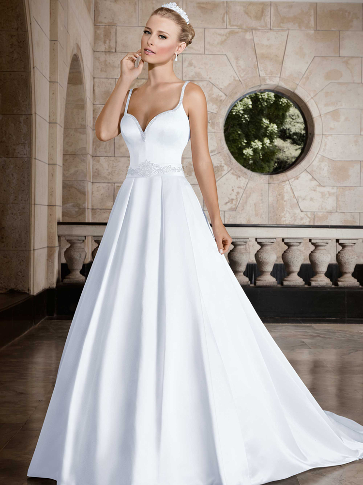 Sparkly wedding dresses sweetheart beaded satin wedding for Sweetheart wedding dress with straps