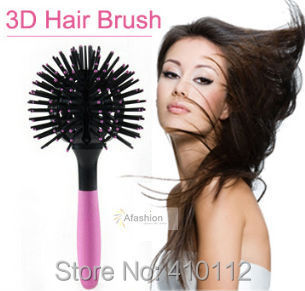 1pc 3D bomb curl Hair Brush spherical curler styling tools Human Detangling escova de cabelo tangle Comb care Free shipping(China (Mainland))