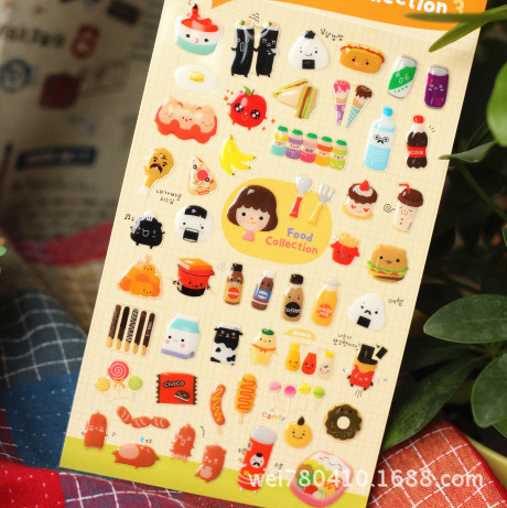 Three-dimensional Food Collection  Stickers Diary Planner Journal Note Diary Paper Scrapbooking Albums PhotoTag Funny 15S-Z806<br><br>Aliexpress