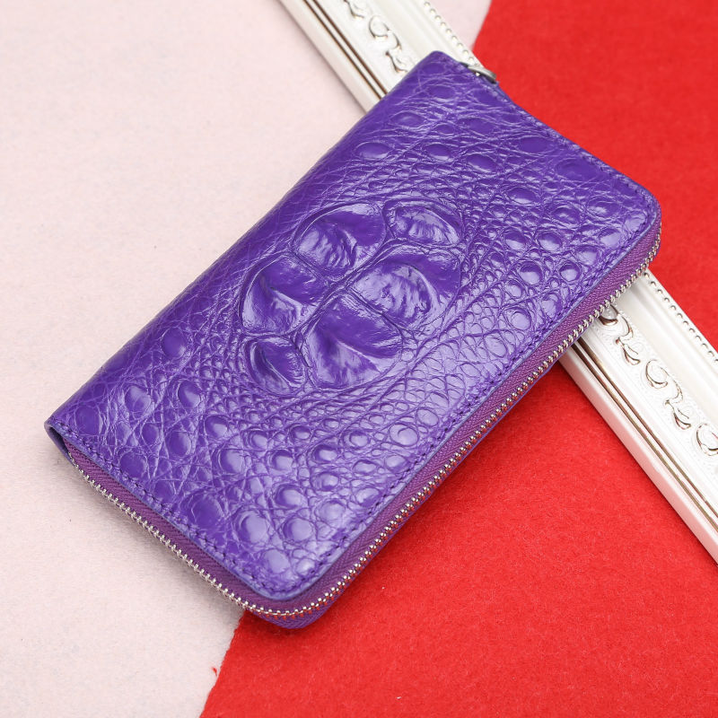 Wallet Women Crocodile Leather Purse With Large Capacity Purple Red Blue Coffee Colour Lady Wallet Super Christmas/New Year Gift(China (Mainland))