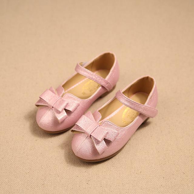 Девушки обувь 2016 весна новая мода многослойные лук принцесса девочек обувь кожаная ...
