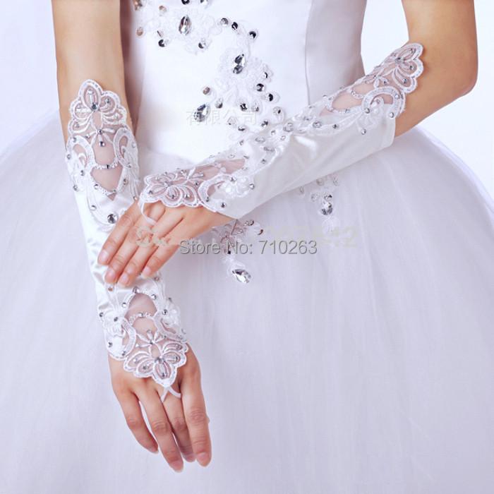 Fantastic Wedding Gloves Bride White Lace Beaded Fashion Wedding Bridal Gloves Bride Dress Glove Wedding Accesories(China (Mainland))