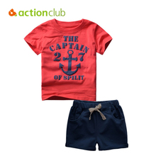 Buy Actionclub Baby Boys Summer Clothing Set Cotton Short Sleeve T-shirt Pants Kids Captain Anchors Pattern Clothes Children for $11.78 in AliExpress store