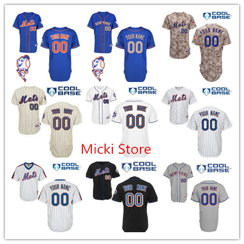 Custom New York Mets Alternate Blue Jersey w/2015 Mr. Met Patch New York Mets Personalized Home Road Cool Base baseball Jersey(China (Mainland))