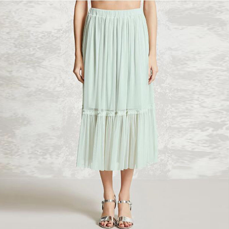 buy wholesale mint green chiffon pleated skirt from