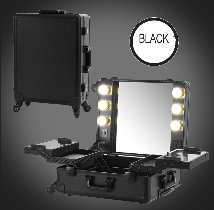 Black Makeup Case Lights Professional Rolling Cosmetic Station Box Large Portable Table Bag with foldable Tray 2016 New(China (Mainland))