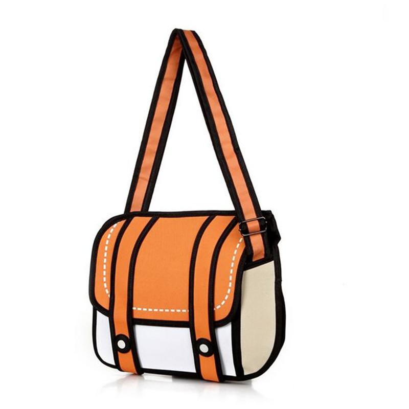 New Fashion 2D Bags Novelty Back To School Bag 3D Drawing Cartoon Paper Comic Handbag Women Shoulder Bag Messenger 5 Color Gift(China (Mainland))