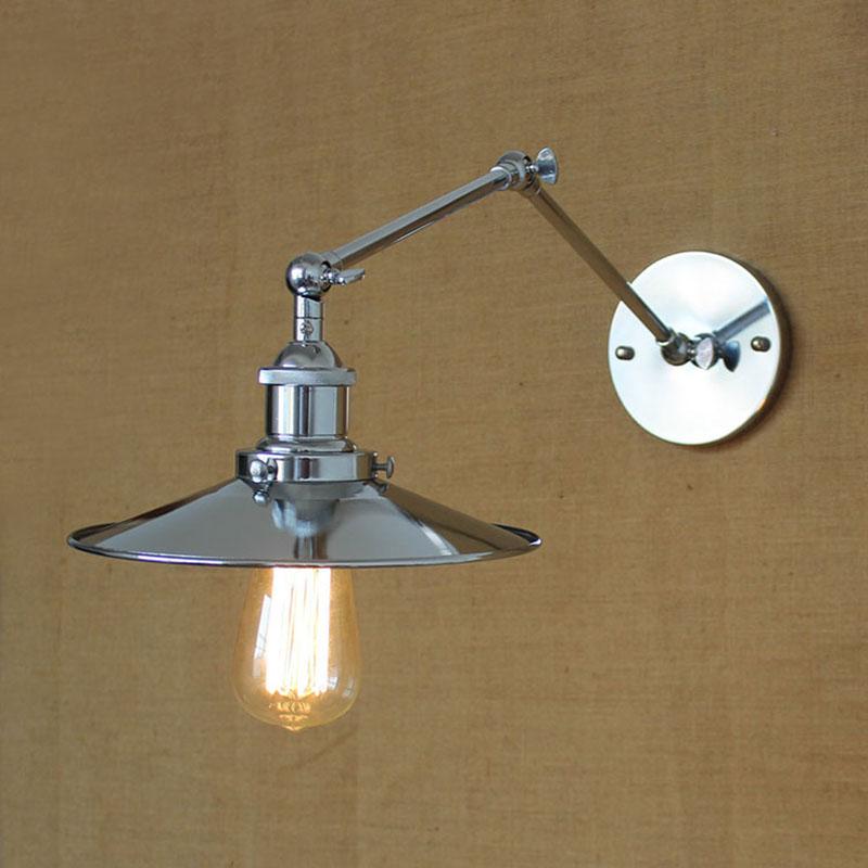 Modern Industrial iron fashion mechanical swing arm adjustable chrome wall lamp Loft lights hallway for home Workroom Bedroom(China (Mainland))