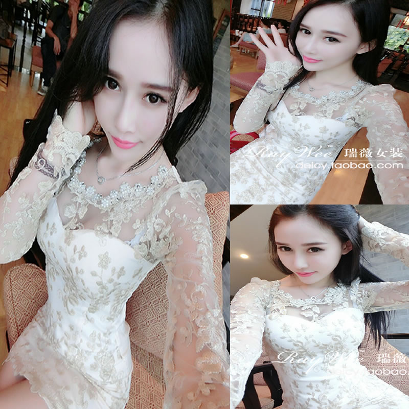 2015 New Fashion Women Sexy Clothes Spring Autumn Long-sleeve Laciness Collar Lace Princess Dress Sweet bridesmaid Dresses T073(China (Mainland))