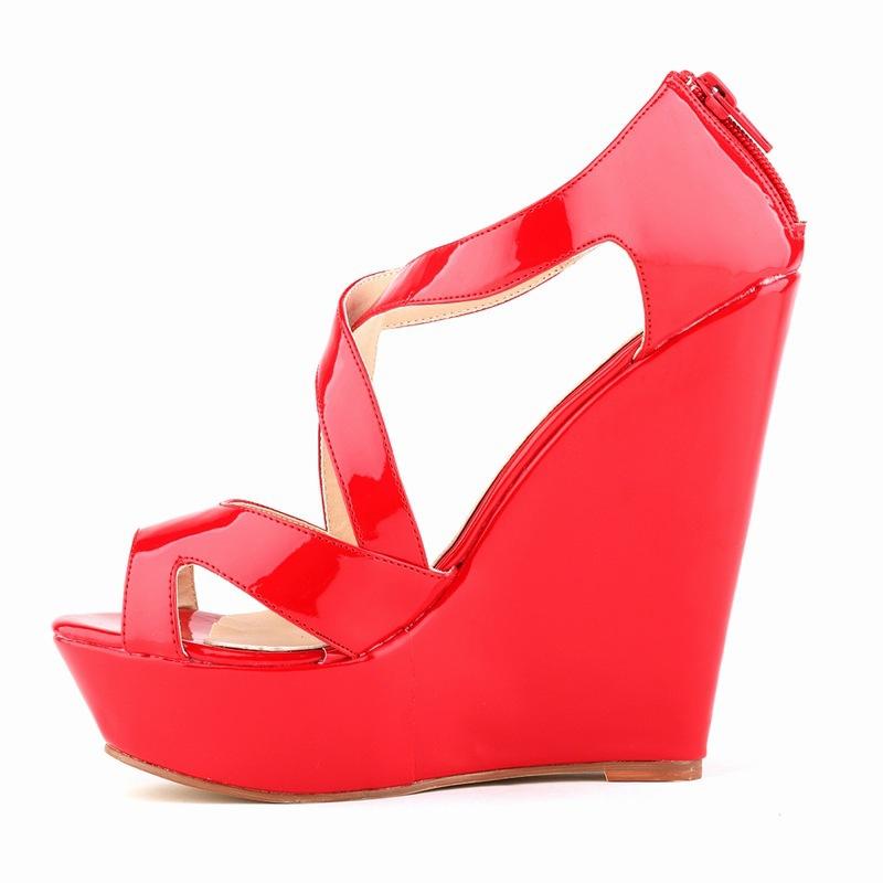 Фотография 2015 Fashion High Heel Summer Women Cross-Strap Zip Platform Cover Heel Patent Leather Office & Career Plain Solid  Sandals