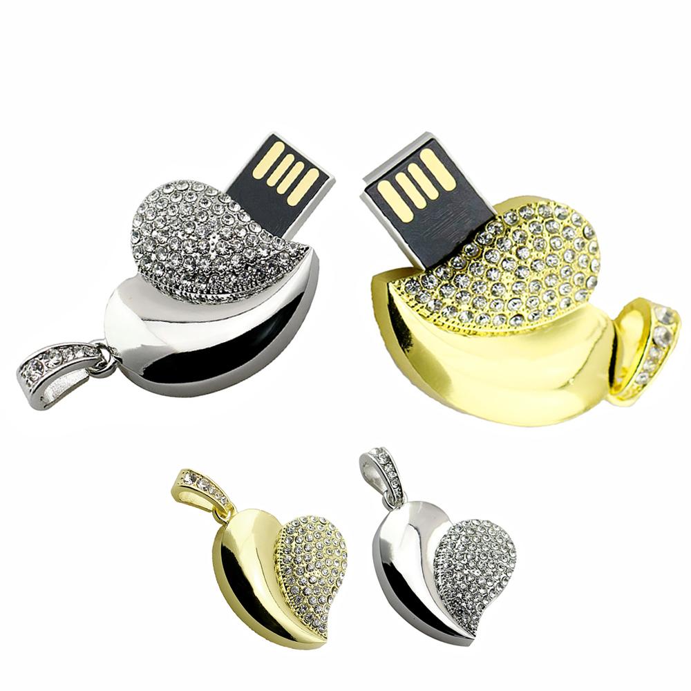 Metal Diamond jewelry Usb Flash Drive Memory 4g 8g 16g Crystal Heart usb flash drives 16 gb U Disk wedding memorabilia for gift(China (Mainland))