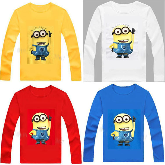 New 2015 kids t-shirt despicable me 2 minions boys clothes girl t shirts Headphone Design T shirt Children Tops cotton Tees(China (Mainland))